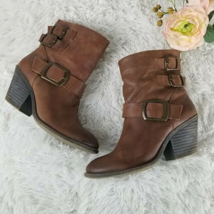 Lucky Brand Tommie Leather Boots with Buckle